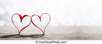 Red hearts symbol of love - Two red ribbon hearts symbol of ...