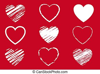 Red Hearts Symbol Set Isolated Red Background