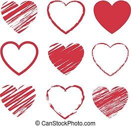 Red Hearts Symbol Set Isolated White Background