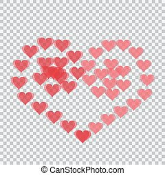 Red hearts translucent arranged in a heart shape. Two spiral. Checker background. Valentine's Day. illustration