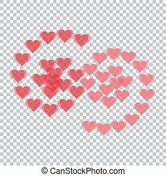 Red hearts translucent arranged in the form of numbers 69. Checker background. Valentine's Day. illustration