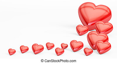 Red hearts, valentine's day concept. 3D rendering