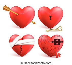 Red hearts vector 3d realistic set with arrows, key holes, puzzle and bandages