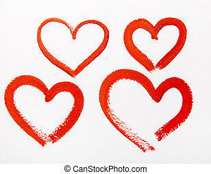 red hearts watercolor