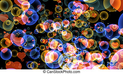 red hearts with gold and dark blue bubbles floating on black background