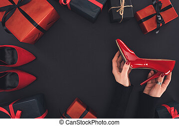 red heel and presents