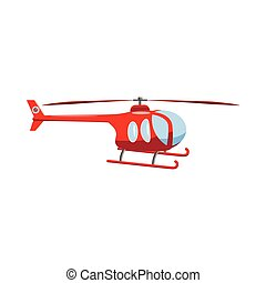 Red helicopter icon, cartoon style