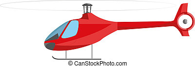 Red helicopter isolated on white