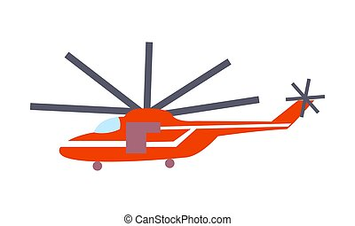 Red Helicopter Isolated on White Vector Poster