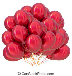 Red helium balloons bunch birthday party decoration