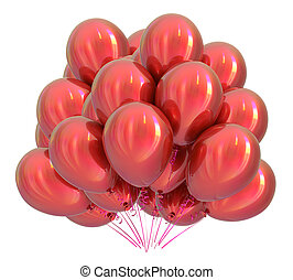 Red helium balloons bunch colorful. Birthday decoration classic
