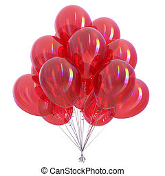 Red helium balloons bunch glossy party decoration colorful