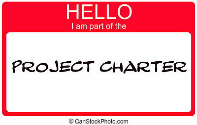 Red Hello I am part of the Project Charter name tag making a...