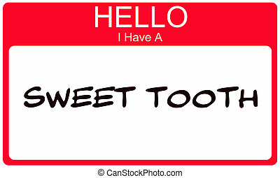 Red Hello I Have a Sweet Tooth Name Tag Sticker making a ...