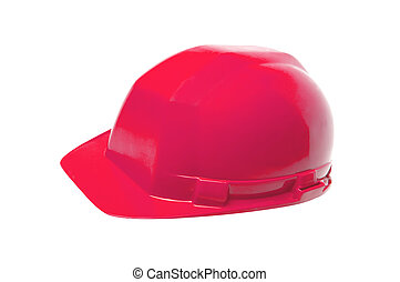 Red helmet isolated on white