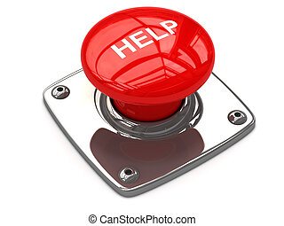 Red help button concept. 3D image
