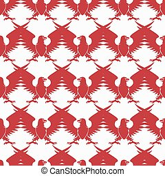 Red heraldic eagle silhouette seamless pattern