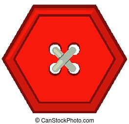Red hexagon button on white background