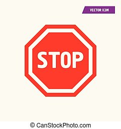 Red hexagon STOP Sign Icon ,Road Sign