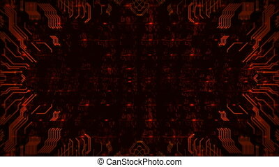 Red Hi-Tech Circuit Board Background. Computer Generated Seamless Loop Abstract Animation.