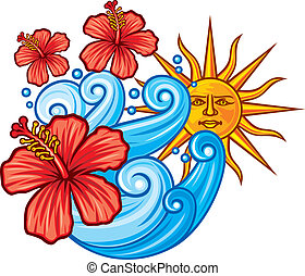 red hibiscus flower, sea and sun