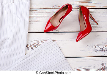 Red high heel shoes, top view.