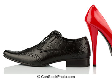 red high heels and men's shoe - ladies shoes and men's...
