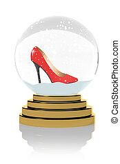 Red high heels  in a snow globe
