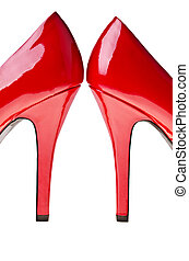 Red high heels, isolated on white background.