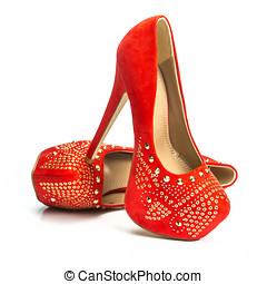 Red high heels shoes in rivets and rhinestones