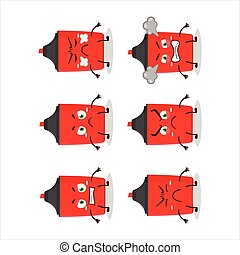 Red highlighter cartoon character with various angry expressions
