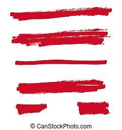 Red highlighter marker strokes. Vector brush pen underline...