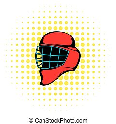 Red hockey helmet with cage icon, comics style