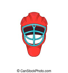 Red hockey helmet with cage icon, cartoon style