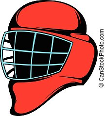 Red hockey helmet with cage icon, icon cartoon