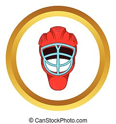 Red hockey helmet with cage vector icon