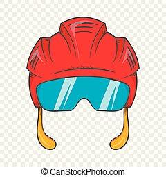 Red hockey helmet with glass visor icon