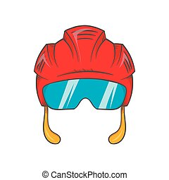 Red hockey helmet with glass visor icon