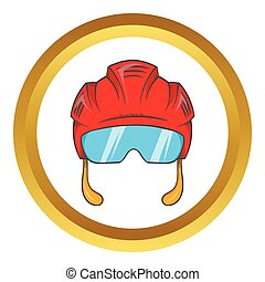 Red hockey helmet with glass visor vector icon
