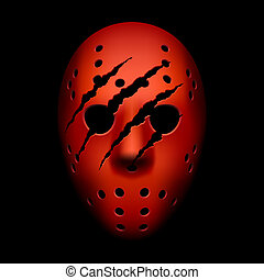 Red hockey mask with traces of claw - Vector illustration