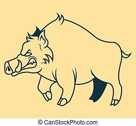 Red Hogs Line Art - Vector line art illustration of  hogs