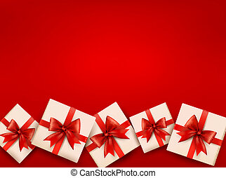 Red holiday background with gift boxes and red bow. Vector illustration