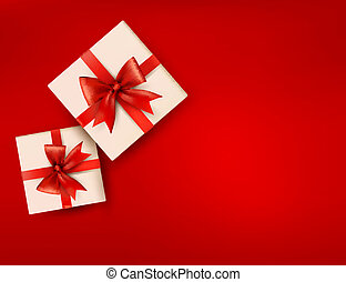 Red holiday background with gift boxes with red bow. Vector illustration