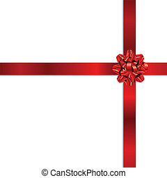 Red holiday bow - Beautiful gift red bow on white background...