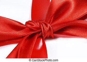 red holiday bow on white background