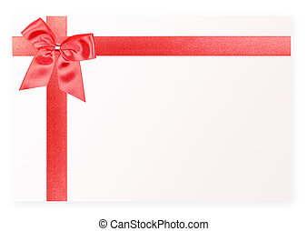 Red holiday bow on white card