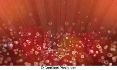 Red Holiday Rays with Glittering Star and Snowflakes
