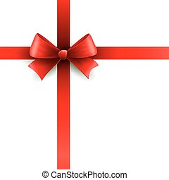Red holiday ribbon with bow