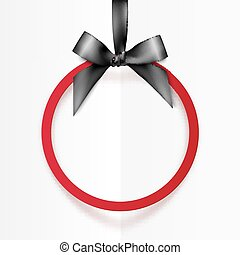 Red holiday round frame with black bow and silky ribbon