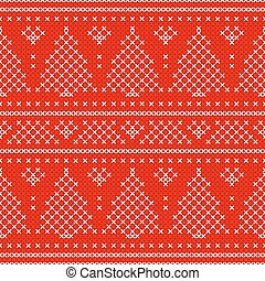 Red Holiday seamless pattern with cross stitch embroidered fir-tree and hearts.